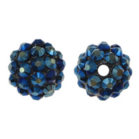 Resin Rhinestone Beads, Round, colorful plated, dark blue, 16x18mm, Hole:Approx 2.5mm, 100PCs/Lot, Sold By Lot