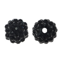 Resin Rhinestone Beads, Round, black, 16x18mm, Hole:Approx 2.5mm, 100PCs/Lot, Sold By Lot