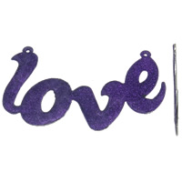 Letter Zinc Alloy Connector, word love, platinum color plated, enamel & 1/1 loop & colorful powder, purple, lead & cadmium free, 115x70x3mm, Hole:Approx 2mm, Sold By PC