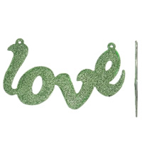 Letter Zinc Alloy Connector, word love, platinum color plated, enamel & 1/1 loop & colorful powder, green, lead & cadmium free, 115x70x3mm, Hole:Approx 2mm, Sold By PC
