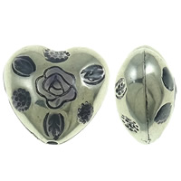 Copper Coated Plastic Beads, Heart, antique silver color plated, enamel, lead & cadmium free, 28x26x17mm, Hole:Approx 3mm, 10PCs/Bag, Sold By Bag