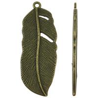 Sinkkiseos Feather riipukset, Sulka, antiikki pronssi väri päällystetty, nikkeli, lyijy ja kadmium vapaa, 16x44x2mm, Reikä:N. 2mm, N. 210PC/KG, Myymät KG