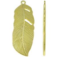 Sinkkiseos Feather riipukset, Sulka, kullan väri kullattu, nikkeli, lyijy ja kadmium vapaa, 16x44x2mm, Reikä:N. 2mm, N. 210/