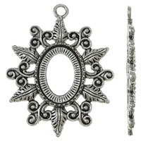 Zinc Alloy Pendant Setting, Flower, antique silver color plated, nickel, lead & cadmium free, 34x42x3mm, Hole:Approx 3mm, Approx 170PCs/KG, Sold By KG