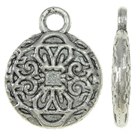 Zinc Alloy Flat Round Pendants, antique silver color plated, nickel, lead & cadmium free, 10x13x2mm, Hole:Approx 2mm, Approx 1420PCs/KG, Sold By KG