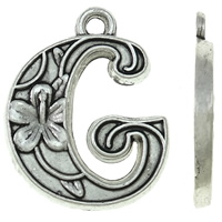 Zinc Alloy Alphabet Pendants, Letter G, antique silver color plated, nickel, lead & cadmium free, 15x19x2mm, Hole:Approx 2mm, Approx 625PCs/KG, Sold By KG