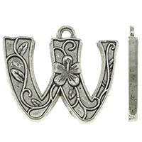 Zinc Alloy Alphabet Pendants, Letter W, antique silver color plated, nickel, lead & cadmium free, 22x19x2mm, Hole:Approx 2mm, Approx 450PCs/KG, Sold By KG