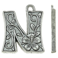 Zinc Alloy Alphabet Pendants, Letter N, antique silver color plated, nickel, lead & cadmium free, 17x19x2mm, Hole:Approx 2mm, Approx 500PCs/KG, Sold By KG