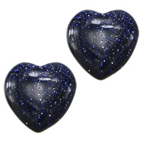 Blue Goldstone Beads, Heart, half-drilled, 12x12x3.50mm, Hole:Approx 1.8mm, 50PCs/Lot, Sold By Lot