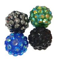 Resin Rhinestone Beads, Round, mixed colors, 10x12mm, Hole:Approx 2.5mm, 100PCs/Lot, Sold By Lot