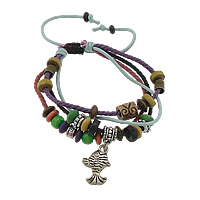 Wood Shamballa Bracelet, with Wax Cord & Copper Coated Plastic & Iron, plated, 4-strand, multi-colored, 14x21x4mm, 9mm, 4x8mm, Length:6-12 Inch, 30Strands/Lot, Sold By Lot