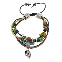 Gemstone Shamballa Bracelets, Wood, with Wax Cord & Cowhide & Lava & Copper Coated Plastic, plated, 3-strand, multi-colored, 5x6mm, 9mm, 4mm, 10x16x1mm, Length:6-12 Inch, 30Strands/Lot, Sold By Lot
