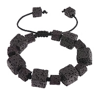 Lava Shamballa Bracelet, with Wax Cord, black, 13mm, 8mm, Length:6-12 Inch, 30Strands/Lot, Sold By Lot