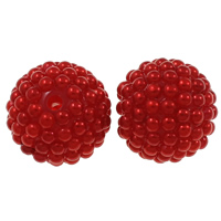 Plastic Beads, Resin, with Plastic, Round, red, 20mm, Hole:Approx 2.5mm, 50PCs/Bag, Sold By Bag
