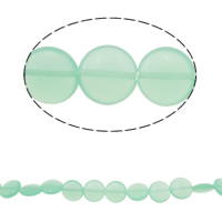Cats Eye Jewelry Beads Rond plat lichtgroen 12x12x4.50mm Gat:Ca 1.5mm Ca 32pC's/Strand Per verkocht Ca 15.5 inch Strand