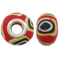 European Polymer Clay Jewelry Beads, Rondelle, platinum plated, messing dubbele kern zonder troll, nikkel, lood en cadmium vrij, 15x11mm, Gat:Ca 5mm, 10pC's/Bag, Verkocht door Bag