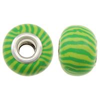Бусины European из полимерной глины, полимерный клей, Круглая форма, Платиновое покрытие платиновым цвет, латунные Двухместный ядро без Тролль & в полоску, зеленый, не содержит никель, свинец, 15x11mm, отверстие:Приблизительно 5mm, 10ПК/сумка, продается сумка