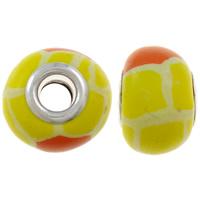 European Polymer Clay Jewelry Beads, Rondelle, platinum plated, messing dubbele kern zonder troll, geel, nikkel, lood en cadmium vrij, 15x11mm, Gat:Ca 5mm, 10pC's/Bag, Verkocht door Bag