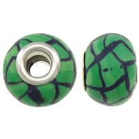 European Polymer Clay Jewelry Beads, Rondelle, platinum plated, messing dubbele kern zonder troll & streep, groen, nikkel, lood en cadmium vrij, 15x11mm, Gat:Ca 5mm, 10pC's/Bag, Verkocht door Bag