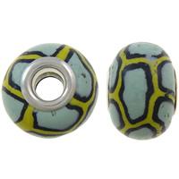European Polymer Clay Jewelry Beads, Rondelle, platinum plated, messing dubbele kern zonder troll & streep, nikkel, lood en cadmium vrij, 15x11mm, Gat:Ca 5mm, 10pC's/Bag, Verkocht door Bag