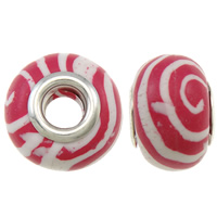 European Polymer Clay Jewelry Beads, Rondelle, platinum plated, messing dubbele kern zonder troll, roze, nikkel, lood en cadmium vrij, 15x11mm, Gat:Ca 5mm, 10pC's/Bag, Verkocht door Bag
