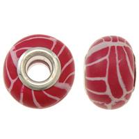 European Polymer Clay Jewelry Beads, Rondelle, platinum plated, messing dubbele kern zonder troll, rood, nikkel, lood en cadmium vrij, 15x11mm, Gat:Ca 5mm, 10pC's/Bag, Verkocht door Bag