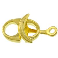 Skórzany pasek i zapięcie ze stopu cynku, Stop cynku, Platerowane w kolorze złota, bez zawartości niklu, ołowiu i kadmu, 23x12x4mm, otwór:około 2mm, 100zestawy/wiele, sprzedane przez wiele