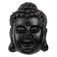 Stone Needle Pendant, Buddha, hygienical, black, 22x30x13mm, Hole:Approx 5mm, 30PCs/Lot, Sold By Lot