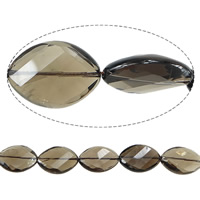 Natural Smoky Quartz Beads, Flat Oval, faceted, Grade AB, 25x18x7mm, Hole:Approx 2mm, Length:Approx 15 Inch, 2Strands/Lot, Approx 15PCs/Strand, Sold By Lot