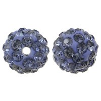 Rhinestone Clay Pave Beads, Round, with rhinestone, Tanzanite, 10mm, Hole:Approx 1.5mm, 50PCs/Bag, Sold By Bag