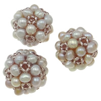 Ball Cluster Cultured Pearl Beads, Freshwater Pearl, with Glass Seed Beads, Round, purple, 20mm, Sold By PC