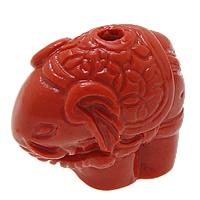 Cynobrowy koraliki, Cynober, Słoń, Naturalne, czerwony, 30x23x7mm, otwór:około 2.5mm, 10komputery/wiele, sprzedane przez wiele