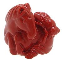 Cynobrowy koraliki, Cynober, Koń, Naturalne, czerwony, 20x21x12mm, otwór:około 2mm, 10komputery/wiele, sprzedane przez wiele