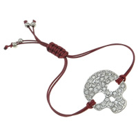 Zinc Alloy Bracelet, with Wax Cord, Skull, platinum color plated, enamel & with rhinestone, dark red, nickel, lead & cadmium free, 34x30x3.50mm, Sold Per Approx 7.5 Inch Strand