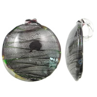 Silver Foil Lampwork Pendants Flat Round handmade 49x51x10mm Hole:Approx 12x7mm 10PCs/Bag