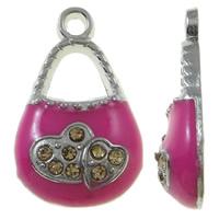 Zinklegering Handtas Hangers, Zinc Alloy, platinum plated, glazuur & met strass, roze, nikkel, lood en cadmium vrij, 12x20x4mm, Gat:Ca 2mm, 50pC's/Bag, Verkocht door Bag