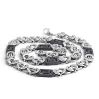 316L Stainless Steel Chain Necklace, plated, two tone, 6mm, Length:Approx 21.5 Inch, 2Strands/Lot, Sold By Lot