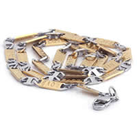 Stainless Steel Chain Necklace, 316L Stainless Steel, plated, mariner chain & two tone, 5mm, Length:Approx 21.5 Inch, 3Strands/Lot, Sold By Lot
