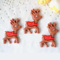 Рождественские Кабошоны, канифоль, Рождественские олени, плоской задней панелью, коричневый, 22x30mm, 200ПК/Лот, продается Лот