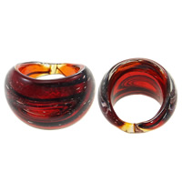 Lampwork Finger Ring handmade red 31x22x30mm US Ring Size:7.5 10PCs/Bag