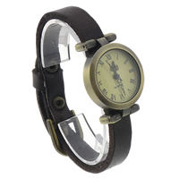 Unisex Wrist Watch, Cowhide, with zinc alloy dial, antique bronze color plated, coffee color, nickel, lead & cadmium free, 25mm, Length:Approx 9.4 Inch, 8Strands/Lot, Sold By Lot