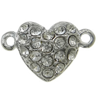 Zinc Alloy Magnetic Clasp, Heart, platinum color plated, with rhinestone & single-strand, nickel, lead & cadmium free, 17x11x7mm, Hole:Approx 1mm, 10PCs/Bag, Sold By Bag