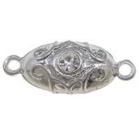 Zinc Alloy Magnetic Clasp, Oval, platinum color plated, with rhinestone & single-strand, nickel, lead & cadmium free, 9x22x8mm, Hole:Approx 1mm, 10PCs/Bag, Sold By Bag