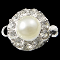 Zinc Alloy Box Clasp, Flower, silver color plated, with glass pearl & with rhinestone & single-strand, nickel, lead & cadmium free, 11.50x15x8mm, Hole:Approx 1-2mm, 10PCs/Bag, Sold By Bag