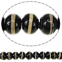 Natural Tibetan Agate Dzi Beads, Rondelle, black, 12x16mm, Hole:Approx 1.5mm, Length:Approx 13.5 Inch, 3Strands/Lot, Approx 30PCs/Strand, Sold By Lot