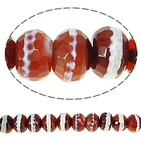 Natural Tibetan Agate Dzi Beads, Rondelle, faceted, red, 10x14mm, Hole:Approx 1.5mm, Length:Approx 15 Inch, 3Strands/Lot, Approx 37PCs/Strand, Sold By Lot