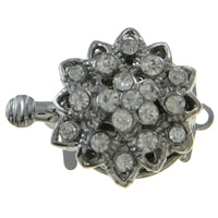 Zinc Alloy Box Clasp, Flower, platinum color plated, with rhinestone & single-strand, nickel, lead & cadmium free, 16x21x8mm, Hole:Approx 1.5mm, 10PCs/Bag, Sold By Bag