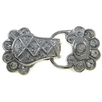Zinc Alloy Magnetic Clasp, platinum color plated, with rhinestone & 2-strand, nickel, lead & cadmium free, 30x14x7mm, Hole:Approx 1mm, 10PCs/Bag, Sold By Bag