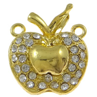 Zinc Alloy Magnetic Clasp, Apple, gold color plated, with rhinestone & single-strand, nickel, lead & cadmium free, 22x25x9mm, Hole:Approx 2mm, 10PCs/Bag, Sold By Bag