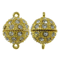 Zinc Alloy Magnetic Clasp, Round, gold color plated, with rhinestone & single-strand, nickel, lead & cadmium free, 14x20mm, Hole:Approx 1.5mm, 10PCs/Bag, Sold By Bag
